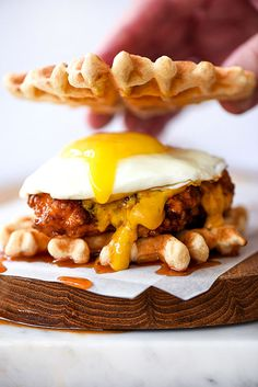 Chicken and Waffles Sliders // spicy fried chicken, waffle, fried egg, dipping sauces - spicy maple syrup, chipotle jam, spicy pepper mayo, spicy mustard
