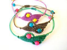 Macrame bracelets. Adjustable bracelets. Kaolin beads by asmina