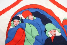Vintage 1970s scarf with Jazz-Age, Art Deco ladies - women's, red, blue and green, made in Italy - simply gorgeous!