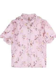 Ruffle Floral Chiffon Shirt