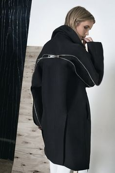 Contemporary Fashion Design - black coat with zipper back detail // Zaid Affas…