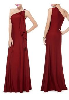 Elegant Ruby Red One-Shoulder Solid Color Rhinestone Design Pleated Maxi Dress For Women #Elegant #Ruby #Red #Maxi #Dress #Fashion
