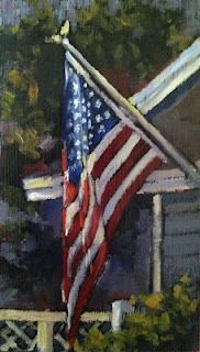 Flying the Flag by Barbara Davis Oil ~ x Painting Still Life, Paintings I Love, Watercolor Paintings, American Flag Painting, American Flag Art, Cub Scout Flag Ceremony, Coastal Art, Urban Sketching, Pictures To Paint