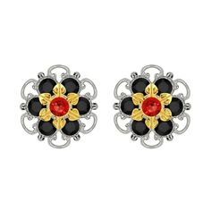 Lucia Costin Gold Over Sterling Silver Red Black Stud Earrings