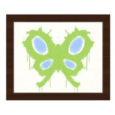"""Click Wall Art Chartreuse Butterfly Framed Painting Print on Canvas Frame Color: Espresso, Size: 22.5"""" H x 26.5"""" W x 1"""" D"""