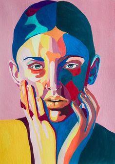 Rocio Montoya on Behance Portrait illustration. Gouache and watercolor. Art And Illustration, Gouache Illustrations, Portrait Illustration, Self Portrait Drawing, Abstract Portrait, Portrait Art, Portrait Acrylic, Canvas Painting Tutorials, Acrylic Painting Canvas