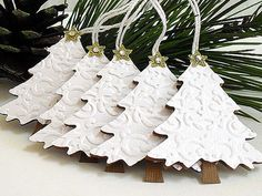 Embossed Shimmery White Christmas TREE Tags by StephanieMatsunaka