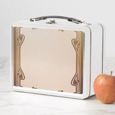 art nouveau beigebrownantiquebelle époque ele metal lunch box - antique gifts stylish cool diy custom
