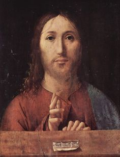 Antonello da Messina.  Salvator mundi. 1465, Öl auf Holz, 39 × 29,5 cm. London, National Gallery. Italien. Renaissance.  KO 02350