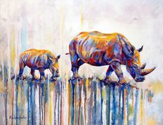 Watercolor Rhinos by Penelope Hunter. Find her work at Lonehill Art Gallery & Framers (Located at Lone Hill Shopping Centre, Lonehill Blvd, Johannesburg, 2062, South Africa).