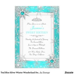 Teal Blue Silver Winter Wonderland Sweet 16 Party 5x7 Paper Invitation Card