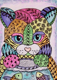 ACEO Le Print Cat Kitten Doodle Pet Goldfish Fish Animal Zentangle Larusc | eBay