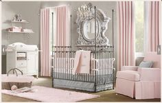 Nursery - Girls. I just love pink and grey