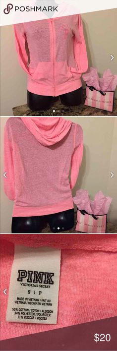 PINK hoodie Missing the string for the hoodie. Otherwise in perfect condition. Thin material. Pretty true to size. Possibly could fit medium, it has a bit of stretch to it. No trades. PINK Victoria's Secret Tops Sweatshirts & Hoodies