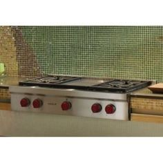 Wolf WSRT364G Gas Cooktop - Stainless Steel with griddle