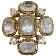 Goossens Paris Rock Crystal and Pearl Brooch / $750 at Isabelle K / gold plated brass, rock crystals, natural pearls - can be worn as pin or on chain neclace