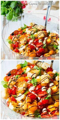 Caprese Panzanella ~ a vibrant panzanella with all the fresh flavors of an Italian Caprese salad