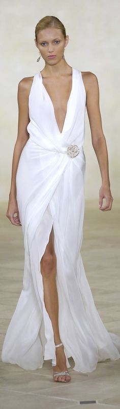Ralph Lauren ~ Summer White Low-V Neckline Maxi Dress 2015