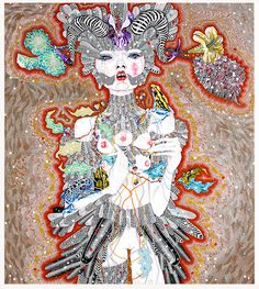 Del Kathryn Barton its not a little love song, 2011 acrylic, gouache, watercolour and ink on polyester canvas 182 × 163cm