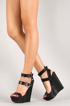 Breckelle Buckle Ankle Strap Open Toe Platform Wedge