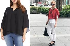 How to hide your belly with fabulous clothes - hide that tummy! Dress To Hide Belly, Dresses To Hide Tummy, Apple Shape Outfits, Clothes For Women Over 40, Flattering Outfits, Capsule Outfits, V Neck Blouse, Plus Size Outfits, Bell Sleeve Top