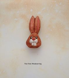 Hand Carved Handmade Easter Bunny Rabbit Pin by TwoToneWoodcarving