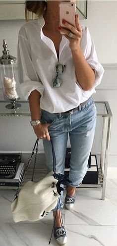 fashionable casual outfit shirt + rips + bag