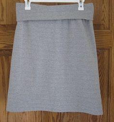 "Simple yoga skirt. Cut 2"" wider than hips. Create A line leaving bottom width. Create waist band 4 inches smaller than waist."