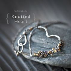 Knotted Heart - Free Form Wire Wrapped Heart with Gold Filled Accent Beads Sterling Silver Neckalce