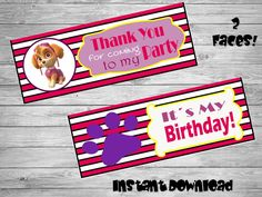 Paw Patrol bag toppers- DIY birthday bags - Paw Patrol Birthday Labels - Paw Patrol Party-Bag toppers- Printable bag toppers by Chumelito on Etsy