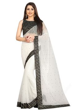 """White net saree with black art silk blouse. Embellished with stone work. Saree with Round Neck, Sleeveless. It comes with unstitch blouse, it can be stitched to 32 to 58 sizes. Saree come with """"UNSTITCHED"""" blouse fabric material. #Saree #IndianSaree #PartyWear #Sareelove"""