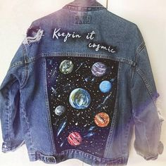 Cosmic Oversized Denim Jacket with the Keepin it cosmic caption. Get it and keep your life cosmic!� ○ High-quality vintage jacket ○ 100% jeans ○ Unique and exclusive design ○ Hiqh-quality painting ○ Sustainable fashion piece