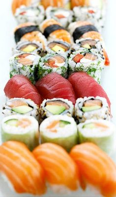 I like sushi because it mix a lot of flavours, colors and texture. You can find it in a sushi's restaurant and also you can make it at home.