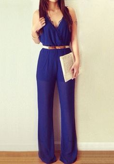 Pleated Surplice - Royal Blue - Crisp Surplice Jumpsuit