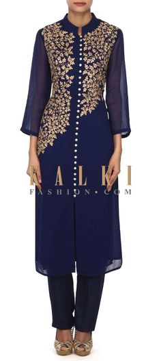 Buy this Navy blue kurti embellished in zari embroidered bodice only on Kalki