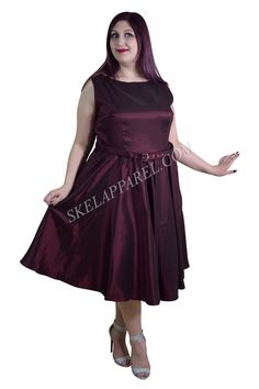 Plus 50's Vintge Style Maroon / Burgundy Satin Swing Dress