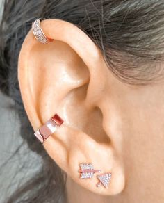 Rose EarParty!  Broken Arrow Stud earrings in diamonds and Rose Gold accompanied by a solid 14K Rose Gold Ear Cuff and topped with a mini diamond cuff in  14K Rose Gold.  Pin This and get it all now at EarStylist.com.