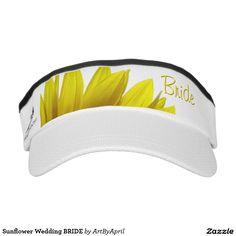 Sunflower Wedding BRIDE Headsweats Visors