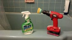 Save your elbow grease with a drill and a scrub brush