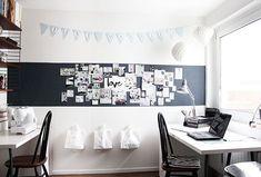 Auf dieser Wand im Arbeitszimmer ist jede Menge Platz für kreative Ideen. There is plenty of room for creative ideas on this wall in the study.