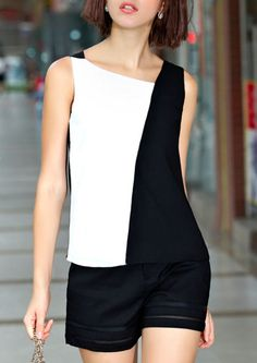 abaday offers Color-block Sleeveless Slim Top & more to fit your fashionable needs. Look Festa … Mais >>like the blouse idea I would have more black showing, coming over her right front shoulder. Screams classy and sexy with gorgeous tailored shorts. Mode Inspiration, Mode Style, Sewing Clothes, Dress Patterns, Blouse Designs, Ideias Fashion, Casual Outfits, Fashion Dresses, Street Style