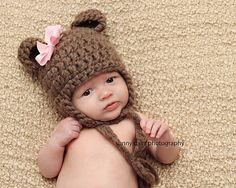 awake newborn. bear hat. Sunny Days Photography