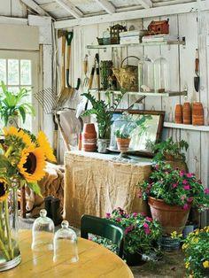 potting shed interior design design design Outdoor Rooms, Outdoor Gardens, Outdoor Living, Modern Gardens, Small Gardens, Garden Cottage, Home And Garden, Inside Garden, Garden Nook
