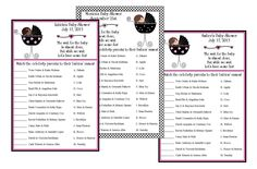 Personalized Sweet Baby Girl Celebrity Baby Name Match Baby Shower Game. %s%.70, via Etsy.