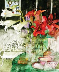 Still Life on a Garden Table by Shirley Trevena lesson on Daniel Smith website.