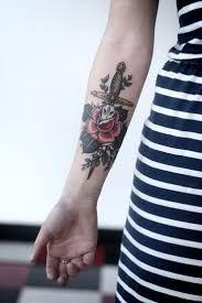 Výsledek obrázku pro rose and dagger tattoo dotwork