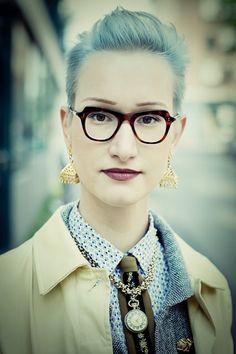 Portrait. Love the glasses, hair, earrings, lips, nose etc.