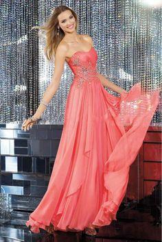 Cheap Sweetheart Sleeveless Long Flowing Chiffon Evening Dresses WholesaleFree Measurement