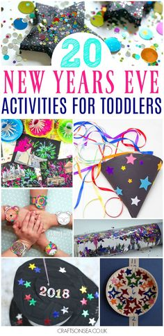 New Years Crafts For Toddlers - 20 ideas you'll want to try this year, these are the most fun New Years Eve activities for toddlers with easy crafts, colouring, sensory play and Arts And Crafts For Teens, Art And Craft Videos, Easy Arts And Crafts, Crafts For Kids, Toddler Art, Toddler Crafts, Preschool Crafts, Preschool Learning, Kindergarten Activities