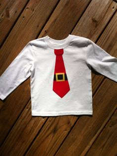 Boys Santa Tie Christmas shirt or onesie. Tie applique in red, black, yellow. Hand stitched. Long or short sleeves.  By EverythingSorella